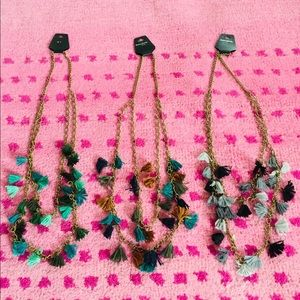 Two Layer Pom Pom long necklaces #N81